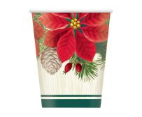 Red & Green Poinsettia Christmas Paper Cups (8)